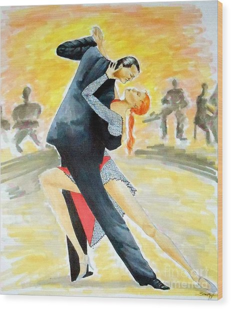 Tango Tangle -- Portrait Of 2 Tango Dancers Wood Print