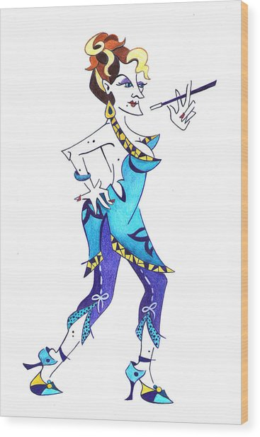 Tango Woman - Fashion Illustration Wood Print