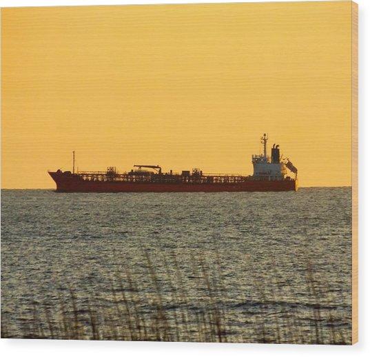Tanker At Sunrise Wood Print