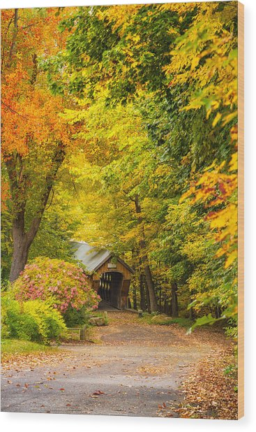 Tannery Hill Covered Bridge Wood Print