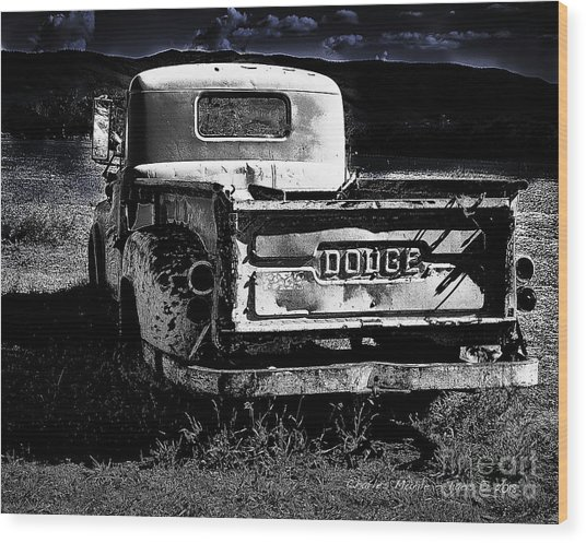 Taos Dodge B-w Wood Print