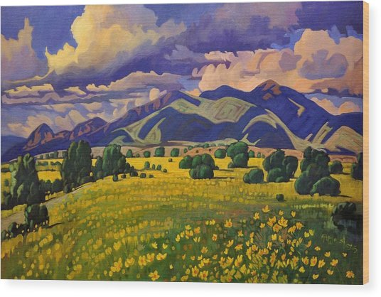 Taos Fields Of Yellow Wood Print