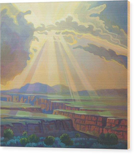 Taos Gorge God Rays Wood Print
