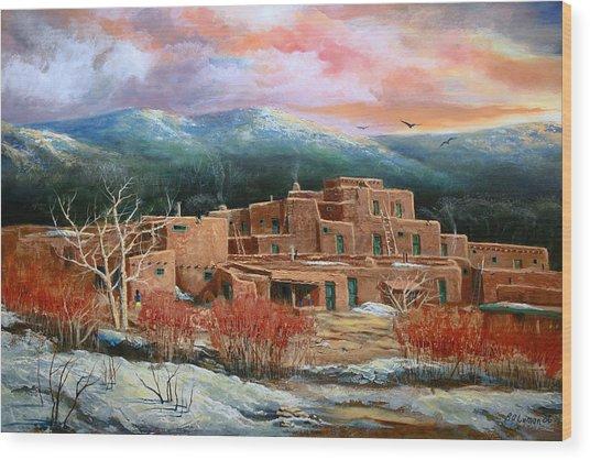 Taos Pueblo Wood Print by Brooke lyman