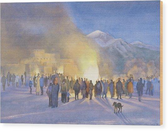 Taos Pueblo On Christmas Eve Wood Print by Jane Grover