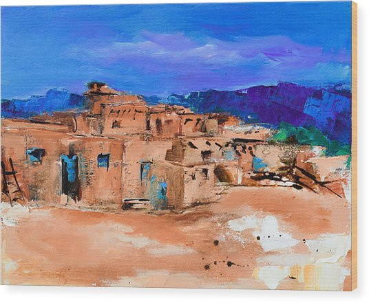 Taos Pueblo Village Wood Print