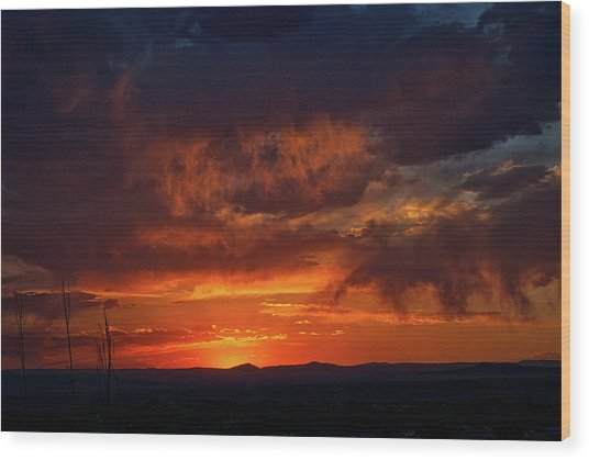 Taos Virga Sunset Wood Print