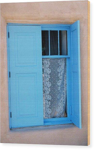Taos Window Wood Print by Diana Davenport
