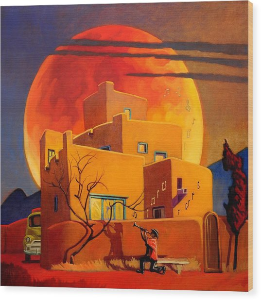 Taos Wolf Moon Wood Print