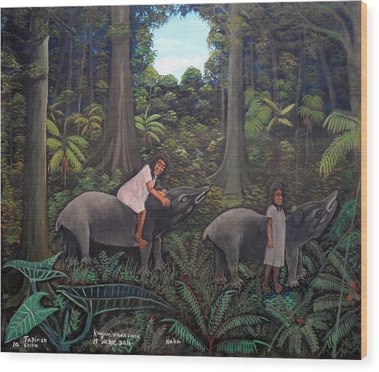 Tapir In The Jungle Wood Print