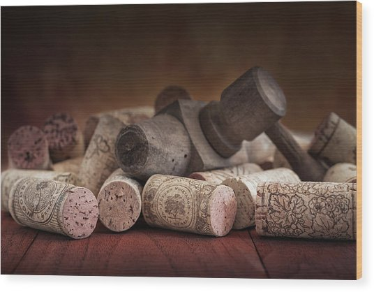 Tapped Out - Wine Tap With Corks Wood Print