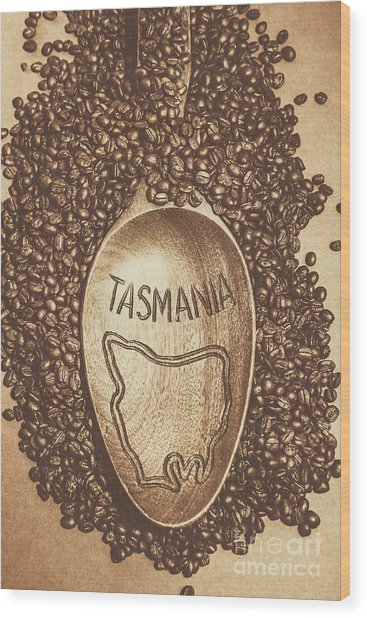 Tasmania Coffee Beans Wood Print