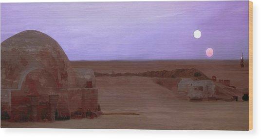 Tatooine Sunset Wood Print
