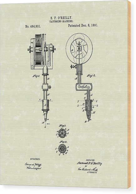 Tattoo Machine 1891 Patent Art Wood Print