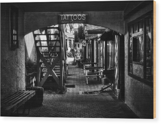 Tattoos And Body Piercing In Black And White Wood Print