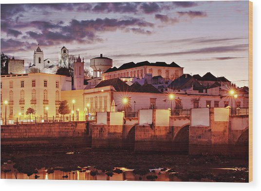 Wood Print featuring the photograph Tavira At Dusk - Portugal by Barry O Carroll