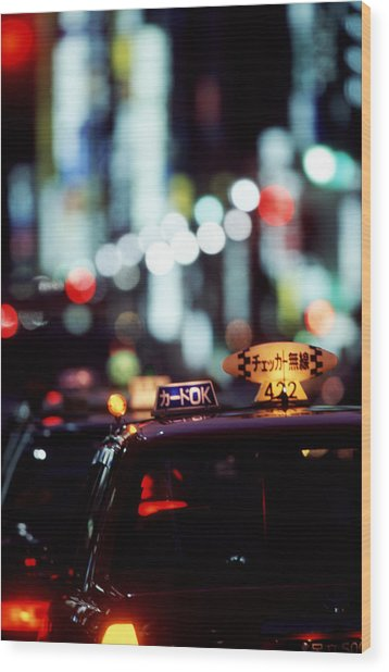 Taxis On The Ginza Wood Print by Brad Rickerby