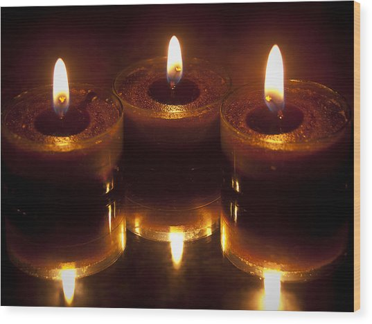 Tea Lights Wood Print