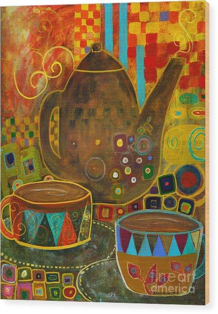 Tea Party With Klimt Wood Print