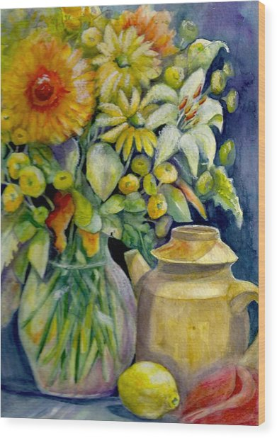 Tea Pot And Flowers Wood Print by KC Winters