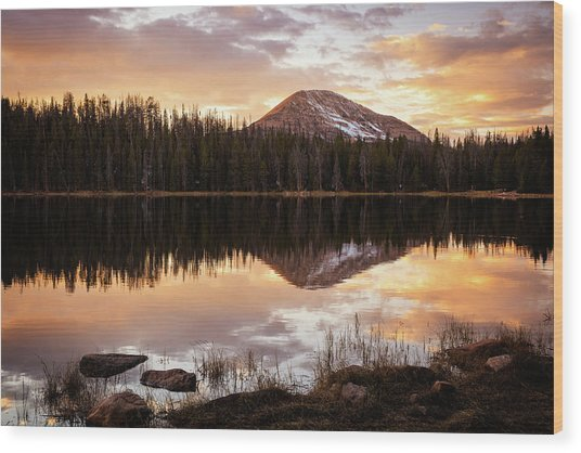 Tea Pot Lake Sunset Wood Print by Johnny Adolphson