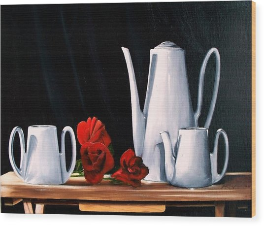 Tea Set With  Roses Wood Print