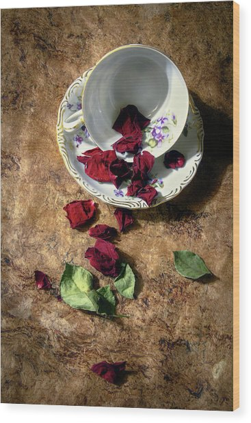 Teacup And Red Rose Petals Wood Print