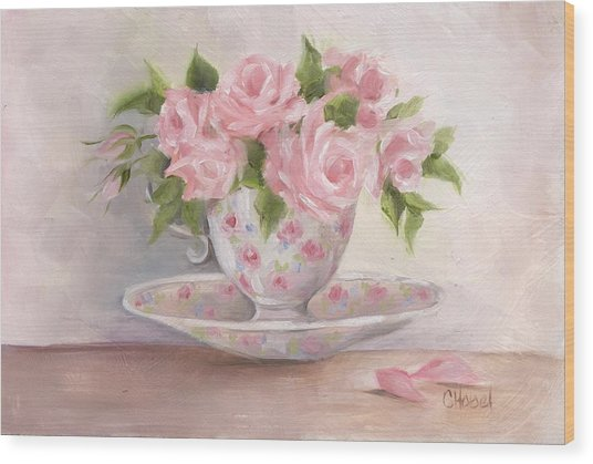 Teacup And Saucer Rose Shabby Chic Painting Wood Print