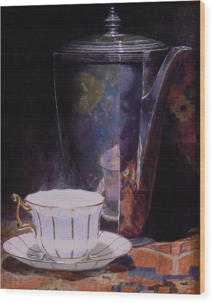 Teacup And Teapot On An Oriental Rug Wood Print by Jeffrey Hayes
