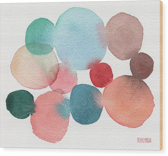 Teal And Coral Abstract Watercolor  Wood Print