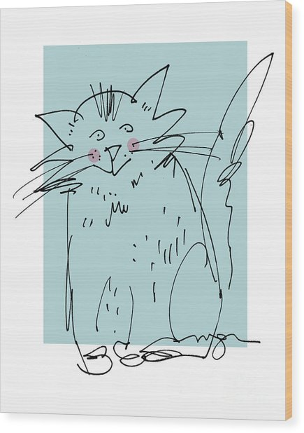 Teal Cat Wood Print