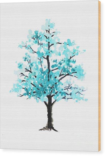 Teal Cherry Blossom Tree Watercolor Art Print Wood Print