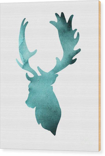 Teal Deer Watercolor Painting Wood Print