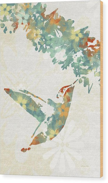 Floral Hummingbird Art Wood Print