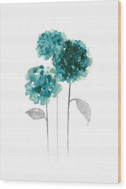 Teal Hydrangea Fine Art Print Wood Print