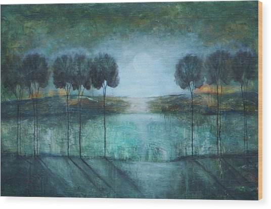 Teal Lake Wood Print