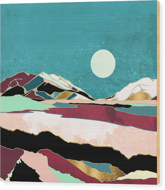Teal Sky Wood Print