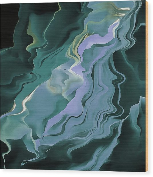 Teal Turbulence Wood Print