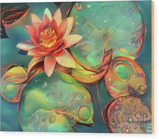 Teal Waterlilies 11 Wood Print