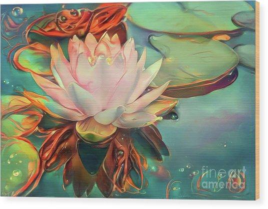 Teal Waterlilies 12 Wood Print