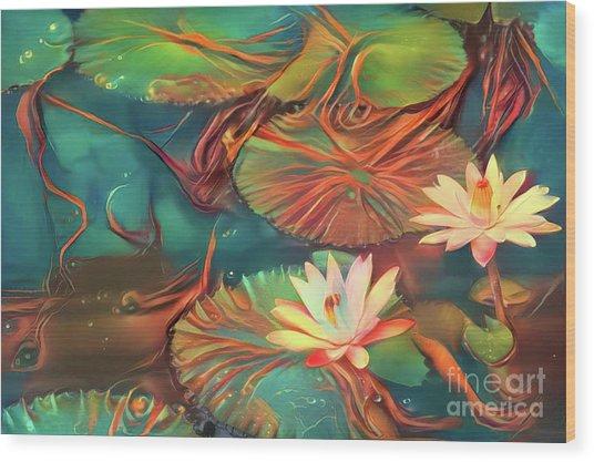 Teal Waterlilies 2 Wood Print