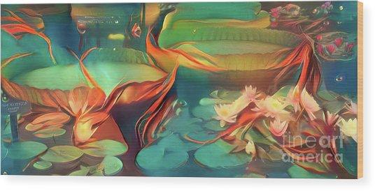 Teal Waterlilies 3 Wood Print