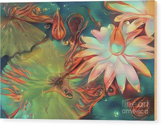 Teal Waterlilies 4 Wood Print