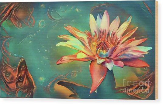 Teal Waterlilies 5 Wood Print