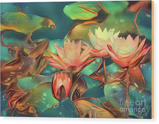 Teal Waterlilies 6 Wood Print