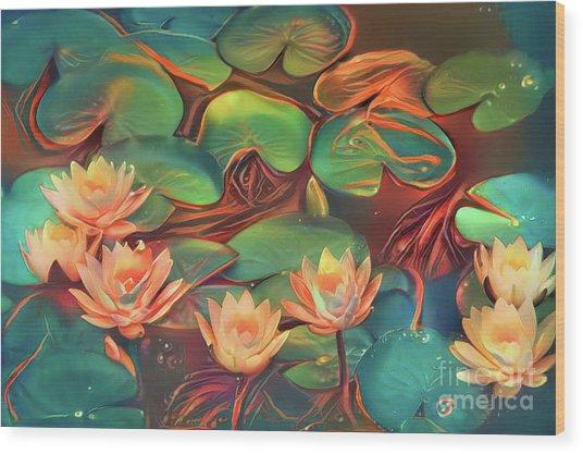 Teal Waterlilies 7 Wood Print