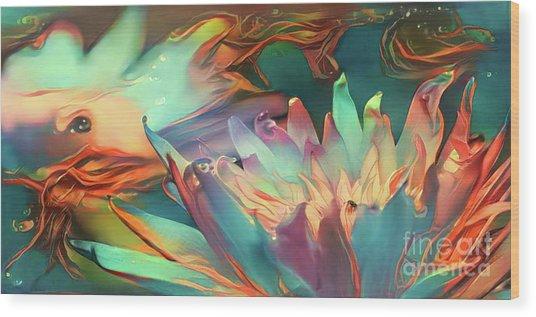 Teal Waterlilies 9 Wood Print