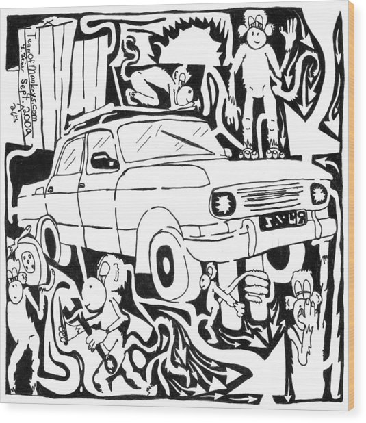 Team Of Monkeys Maze Comic Changing Tire Wood Print by Yonatan Frimer Maze Artist