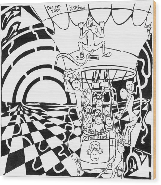 Team Of Monkeys Maze Comic Hot Air Balloon Wood Print by Yonatan Frimer Maze Artist