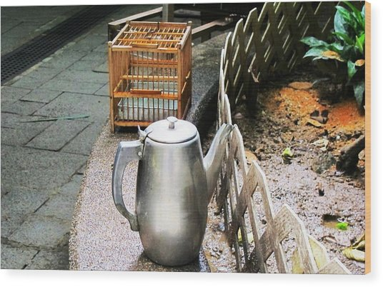 Teapot And Birdcage Wood Print